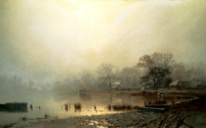 Picture autumn, water, trees, fog, shore, picture, painting, Kamenev