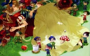 Picture grass, Apple, sleep, mushroom, dwarves, guys, snow white, art, starry sky, kazuaki, starry sky