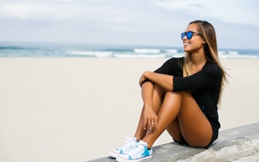 Picture girl, pose, glasses, sitting