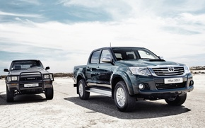 Picture pickup, toyota, Toyota, Hilux, old and new, hilux