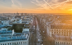Wallpaper the city, Eiffel tower, Paris, morning, France, capital