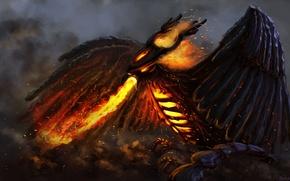 Picture fire, bird, art, Phoenix, Dota 2, Phoenix, Uriak