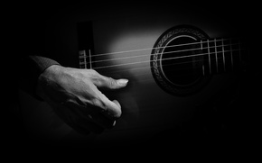 Picture darkness, guitar, hand, strings, player