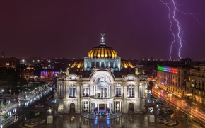 Picture lights, Mexico, lightning, night, people, Mexico City, Palace of Fine Arts