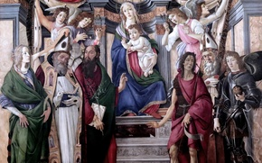 Picture picture, Florence, Sandro Botticelli, Madonna enthroned with four angels and six saints, the great Italian …