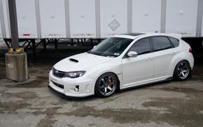Picture turbo, white, wheels, subaru, japan, wrx, impreza, jdm, tuning, power, sti, low, stance