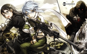 Picture horse, chase, hood, motorcycle, red eyes, rifle, blue hair, art, sword art online, kirito, kirigaya …