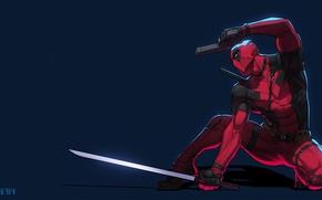 Picture Red, Black, Figure, Gun, Sword, Hero, Mask, Marvel, Deadpool, Wade Wilson, DeadPool, Antihero