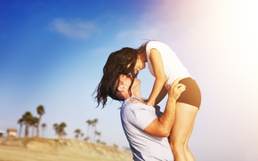 Picture girl, love, joy, happiness, nature, background, widescreen, Wallpaper, mood, woman, feelings, brunette, pair, wallpaper, male, …