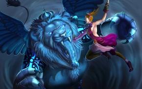 Picture girl, fiction, wings, predator, Leo, battle, art, mouth, king