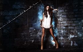 Picture Legs, Brunette, Girls, Wallpaper, Smoke, Widescreen, White Dress, Fullscreen, Brick