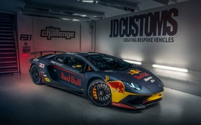 Wallpaper Lamborghini, Red Bull, Aventador, Superveloce