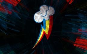 Picture lightning, rainbow, emblem, Oblako, My little pony