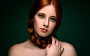 Picture portrait, braid, the beauty, Redhead, Karole
