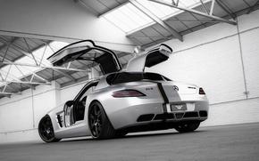 Picture tuning, Mercedes-Benz, door, silver, hangar, supercar, Mercedes, rear view, AMG, SLS, tuning, Wheelsandmore, AMG, SLS, ...
