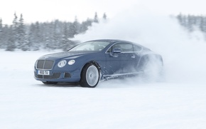 Picture snow, squirt, Bentley, Continental, skid, Continental, Bentley, supercar, drift, the front