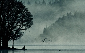 Picture landscape, birds, nature, style, background