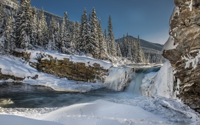 Picture snow, tree, mountains, waterfall, winter, ice, river, forest