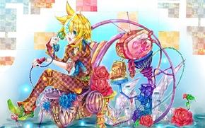 Picture flowers, TV, phone, Vocaloid, Kagamine Len