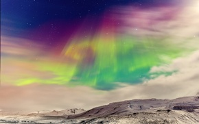 Picture winter, the sky, color, stars, clouds, mountains, Northern lights, Norway