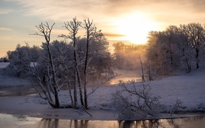 Picture winter, river, morning