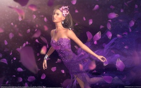 Picture girl, decoration, flowers, petals, dress, art, andrius balciunas