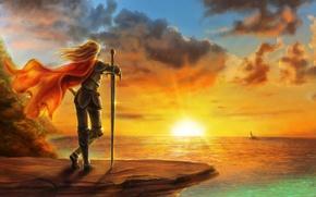 Picture sea, girl, sunset, the wind, sailboat, sword, art, cloak