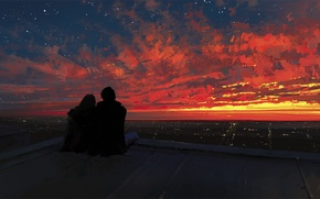 Wallpaper roof, the sky, girl, sunset, the city, romance, art, pair, guy