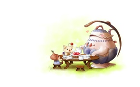 Picture art, the tea party, treat, guests, Teapo - Legend of Mana by ClaraKerber