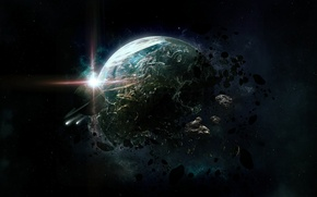 Picture the wreckage, space, star, planet, ring, asteroids, art, destruction