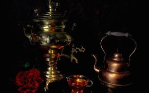 Picture tea, kettle, Cup, still life, samovar
