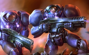 Picture weapons, sparks, armor, landing, Starcraft