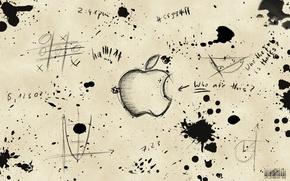 Wallpaper labels, drawings, blots, apple