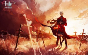 Picture the sky, girl, clouds, sunset, weapons, anime, art, guy, swords, fate stay night, archer, toosaka …