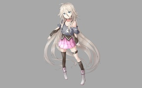 Picture girl, skirt, minimalism, boots, anime, is, long hair, white hair, simple background