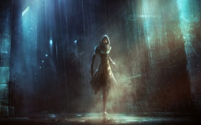 Picture girl, gun, rain, The city, lights, hood, puddles, cloak
