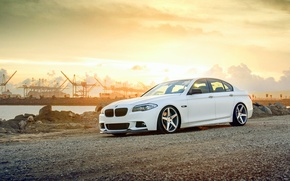 Picture BMW, white, wheels, F10, 550i, frontside