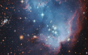 Picture space, stars, nebula, galaxy, star formation, the Pleiades