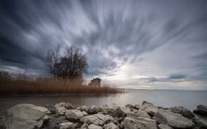 Picture landscape, lake, reed, house
