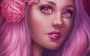 Wallpaper girl, flowers, face, hair, pink, art, JuneJenssen