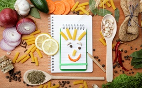 Picture table, lemon, bow, carrots, cucumbers, spices, garlic, seasoning, pasta, black pepper, red pepper