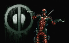 Picture background, mask, art, costume, deadpool, guns. weapons
