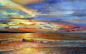 Picture sea, the sky, foam, water, clouds, landscape, nature, shore, wave, color, horizon, surf, painting, Lutsenko, …