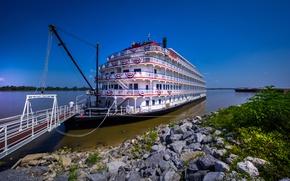 Picture stones, shore, steamer, ladder, Mississippi River, the Mississippi river, Queen of the Mississippi