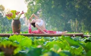Wallpaper pose, legs, gymnastics, girl, summer, exercise, yoga, Asian