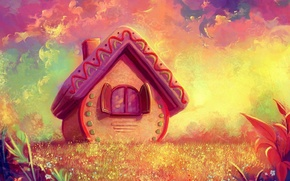 Picture graphics, fairy forest, fairy house, yellow-pink background, fantasy worlds