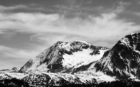Picture snow, mountains, black and white