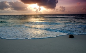 Picture sand, sea, beach, the sky, foam, water, clouds, stone, the rays of the sun