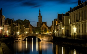 Picture night, lights, Bruges, Saint Anna, West-Flanders