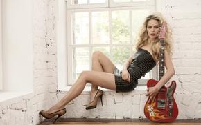 Picture pose, guitar, window, singer, Julia Parshuta